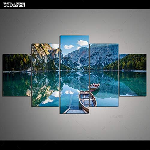 HTBYTXZ 5 Piezas de Lienzo Pared Arte Lago Pintura Lienzo Pared en Sala módulo de Pared Pintura Mural Arte 246 30x40 30x60 30x80cm sin Marco