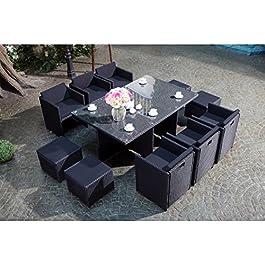 CONCEPT USINE – Salon De Jardin Miami 10 Personnes en Résine Tressée Noir Poly Rotin – 1 Table en Verre – 6 Fauteuils…