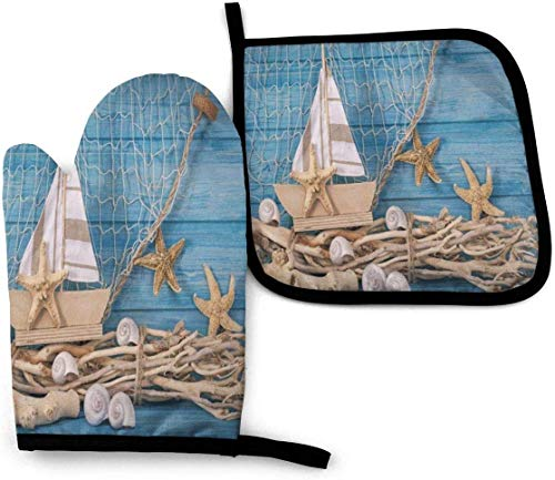 YANGXIN Seashell Starfish Marine Ship Wooden Kitchen Gloves 2pcs Heat Resistant Oven Mitt and Pot Holder Set for Cooking Baking Grilling and BBQ Decorative, Machine Washable