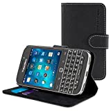 Classic Case, Snugg Leather Leather Flip Case [Card Slots] Executive BlackBerry Classic Wallet Case Cover and Stand - Legacy Series