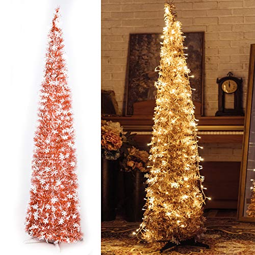 NIGHT-GRING Pop-Up Artificial Christmas Tree with 100LED Lights,Collapsible Pencil Christmas Trees for Holiday Carnival Party Christmas Decorations (Rose Gold)