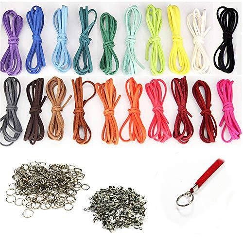 Aweisile tiras de cuero para pulseras 40 piezas 1m x 3mm Cuerda de Cuero Cuerdas Cuero Cordón de Ante con 200 piezas Extremos del cable y 200 piezas anillos de apertura para Pulsera Collar Colgantes