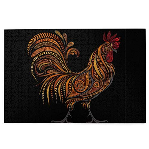 1000 Pieces Jigsaw Puzzle Chinese Color Ink Rooster Hens Pictures Puzzle For Adults Teens Large Wooden Puzzle Game Artwork For Home Wall Decoration Photo Frame Box Kids DIY Floor Puzzles