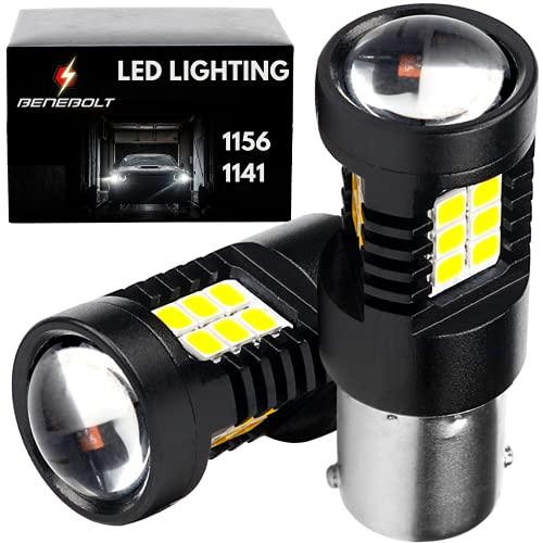 BENEBOLT 3600 Lumens 1156 LED bulb White - 1141 BA15S 7506 P21W LED Bulb - 10.5W Mega Bright LED Reverse lights - Lawn Mower - RV - DRL - HD Glass Projector Lens - Strengthened Aluminum Body - 2 Pack