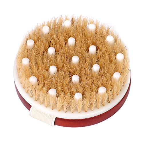 HEETA Body Brush, Round Solid Wood Boar Bristle Brush, Body Exfoliating Brush for Shower, Wet or Dry Brushing, Gently Exfoliate Dead Skin & Cellulite, Natural Bristles and Soft Silicone Massage Nodes
