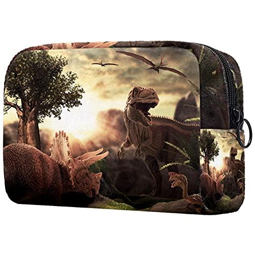 Kosmetiktasche & Schminktasche Dinosaurier Make Up Tasche & Beautycase für Damen 18.5x7.5x13cm