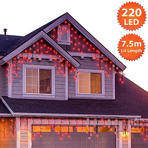 220 LED Tenda luminosa, Luci natalizie per interni e esterni, Rosso Catene luminose con 8 modalità luce/timer, Memoria, trasformatore incluso, 7,5 m lunghezza- Cavo Verde