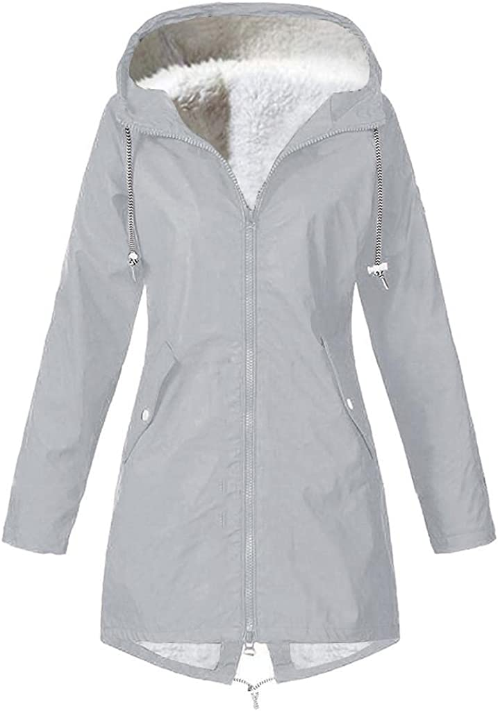Fleece Lined Coats for Rain Women Oversized Waterproof Trench Coat Outdoor Warm Outdoor Hooded Rain Jacket Windbreaker