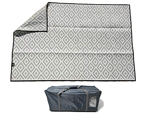 Mountain Mat Earth-Friendly Outdoor RV Patio mat Size 8' x 12' & 8' x 16' for Campers, Campsites - Premium 5 mm Thick Heavy Duty, Waterproof, Reversible Rugs Recycled Polypropylene (8' x 12', Grey)