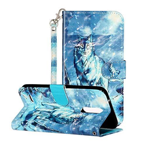 i-Hülle 3D Effect Glitzer Kompatibel mit LG K10 (2018) Handyhülle Phone Hülles PU Lederhülle Brieftasche BookStyle Etui Handytasche Kartenfach Buchstil Flip Tasche für LG K10 (2018),Schneewolf