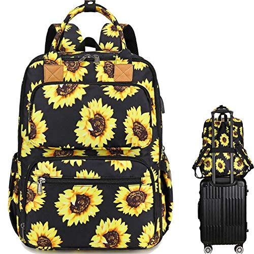 School Backpack Sunflower College Laptop Backpacks with USB Charging Port 15.6 Inch Computer Bookbag for Women Girls (Sunflower)