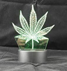 3D Visualization - Unique lighting 3D effects optical illusion marijuana leaf table lamp. Weed table lamp, Night light - Battery Powered - Uses 3 AA Not Included On/Off Switch - turns on or off. Watch it's 7 LED lights change colors Perfect Birthdayo...