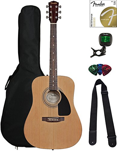 Fender FA-115 Dreadnought Acoustic Guitar - Natural Bundle with Gig Bag, Tuner, Strings, Strap, and...