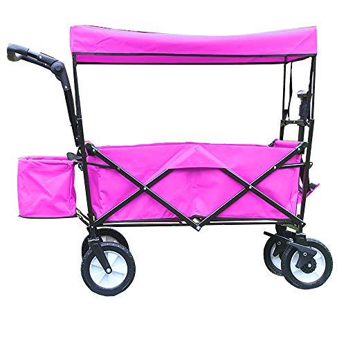 CHHBOXCHH Dach Handwagen/Faltbarer Bollerwagen Klappbar Dach/GeräTewagen Vorderrad-Bremse,Vollgummi-Reifen,Hecktasch,Pink