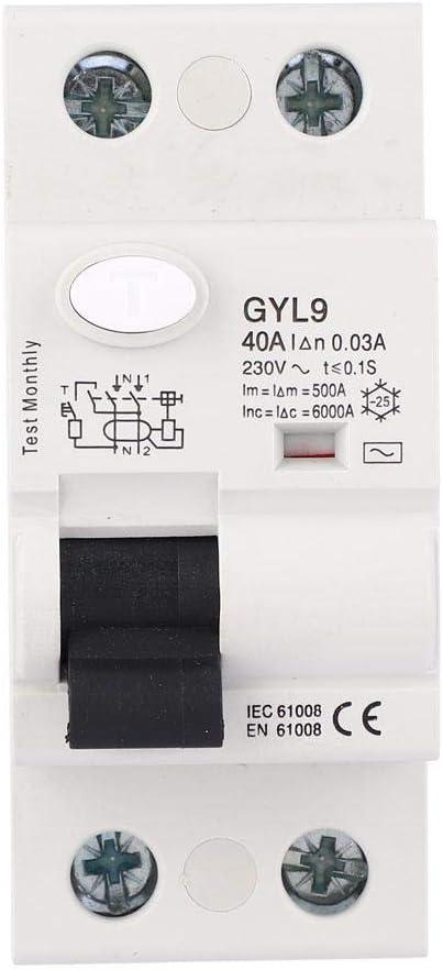 ASHATA Disjoncteur de Protection Contre Les fuites GYL9 2 p/ôles 230V//4 p/ôles 400V 25A//40A//63A 2P 230VAC Disjoncteur /à Courant r/ésiduel RCCB Protecteur de Fuite /électrique 25A