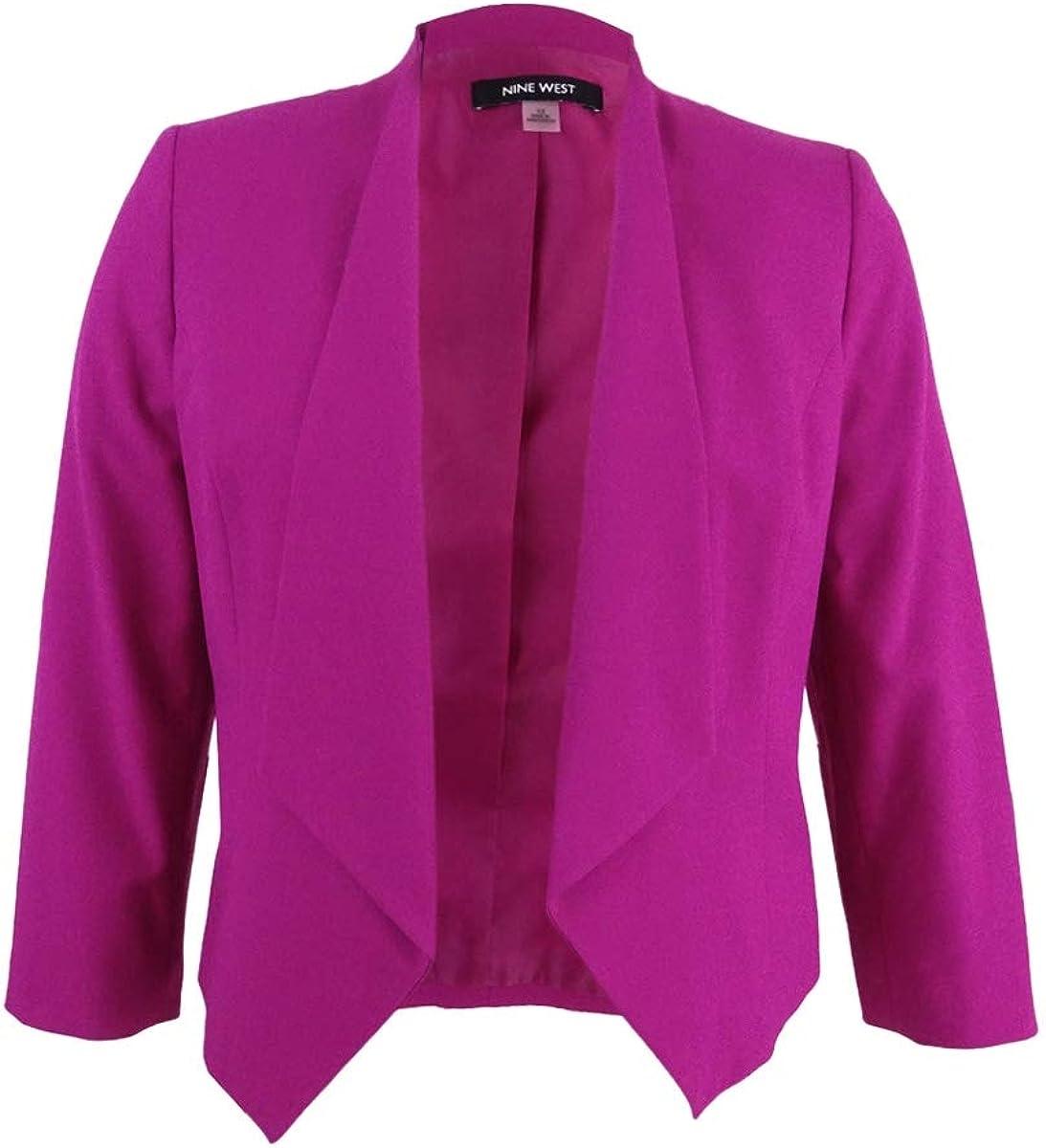 NINE WEST Women's Plus Size Wing Lapel Kiss Front Jacket
