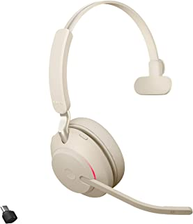 Jabra Evolve2 65 Kablosuz Kulaklık, Gürültü Önleyici, Usb-C Bluetooth Adaptörü, Bej