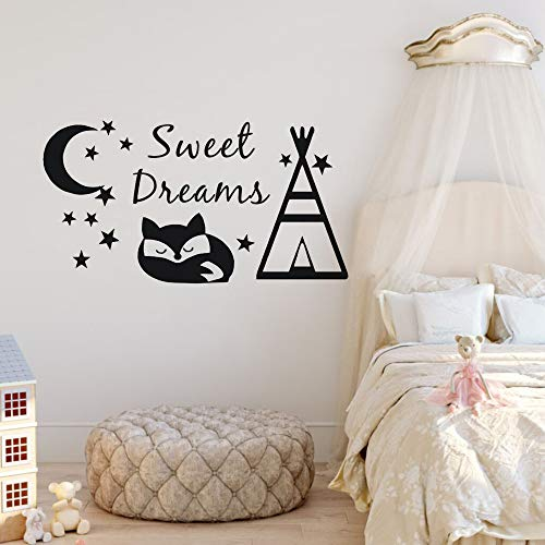 Tianpengyuanshuai Sweet Dream muursticker conisch tent en vos muursticker DIY mode kinderkamer decoratie maan en sterren design vinyl muurschildering zwart 107x57cm