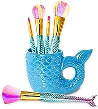 GirlZone: Fun Mermaid Makeup Brushes Kit Gift For Girls, Mermaid Tails on Brushes, Mermaid Tail Holder, Birthday Gift For Girls