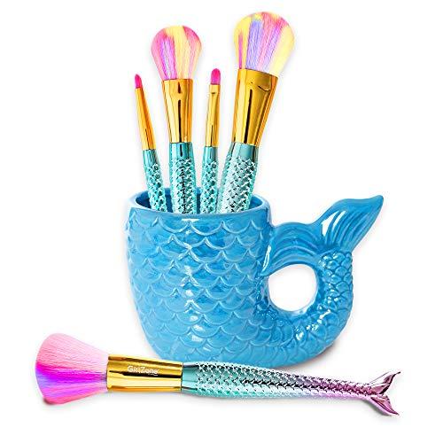Geschenke für Mädchen - Mädchen Make-Up Pinsel-Set GirlZone - Meerjungfrau Lippen-, Lidschatten-, Puder-, Rouge u. Gesichtskontur Schminkpinsel und Behälter