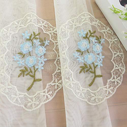 Bloemen geborduurd voile gordijn voor slaapkamer Eenvoudig modern ral Delicate Sheer Pink Blue Window Behandelingsgaas JS36C, kleur 1,1 stks B100xH265 cm