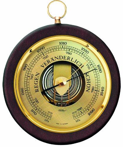 Fischer 1436R-12 - Barometer - 170mm Druckmessgerät mit nussbaumfarbenem Echtholz-Gehäuse gebeizt Made in Germany