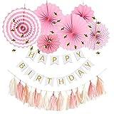 Hanamei 誕生日 飾り付け 装飾 バースデー デコレーション セット no.1 ペーパーファン タッセル スター ガーランド 女の子 pa001(ピンク)