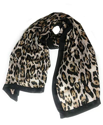 KGM Accessoires grote super zachte luipaard print ZWART streep sjaal sjaal - Oversized dames luipaard sjaal sjaal - Animal print sjaal vrouwen - Cadeaus Beige