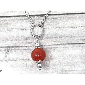 Chokerhalskette für Damen aus Edelstahl mit Ringen und roten Karneolperlen