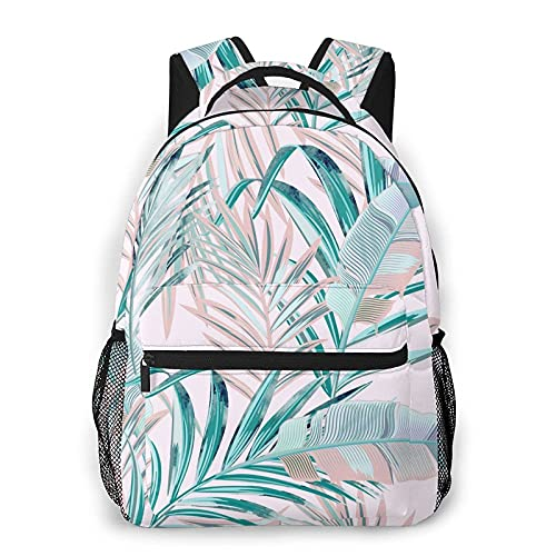 QQIAEJIA Mochila Fashion Floral Tropical Palm Leaves Backpack Girls Boy laptop bag Travel hiking Shoulder Lightweight Book Outdoor Kid Adult School Backpacks camping daypack Halloween Decor