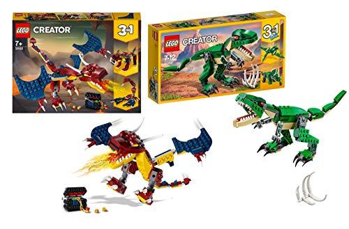 Legoo Lego Creator Set 31058 - Dinosauro + 31102 drago del fuoco per bambini 7-12 anni