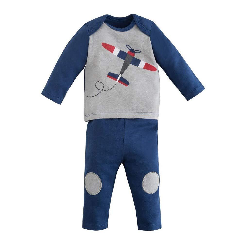 Under the Nile Organic Cotton Twilight Navy Airplane Screenprint Baby Boy Long Sleeve Shirt and Pant Set (0-3m)