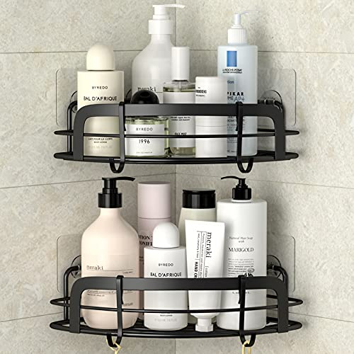STEUGO Black Corner Shower Caddy Adhesive Bath Corner Caddy Shower Organizer with Hooks Wall Mounted, 2 Pack Shower Shelves for Bathroom, Dorm, Toilet, Kitchen