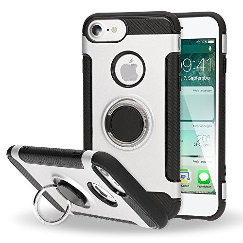 NALIA Handyhülle kompatibel mit iPhone 7, Magnetischer Ring für Auto KFZ-Halterung mit 360-Grad Finger-Halter, Dünne Schutzhülle Cover Hard-Case mit Ständer, Slim Smart-Phone Bumper, Farbe:Silber