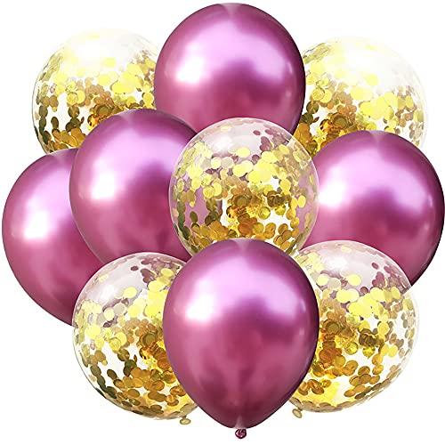 10 pcs Metallic Pearl Confetti Latex Balloons, Gold Confetti Balloon for Celebration Graduation Party Balloons Birthday Wedding Decorations (rot)