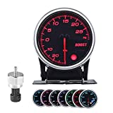 Turbo Boost/Vacuum Gauge Kit 2 Inch 7 Color 30 PSI, Smoke Lens, Black Dial, with Electronic Sensor, for 12V Car and Truck