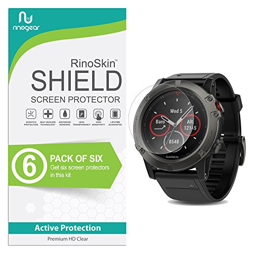 (6-Pack) RinoGear Screen Protector for Garmin Fenix 5X Case Friendly Garmin Fenix 5X Screen Protector Accessory Full Coverage Clear Film