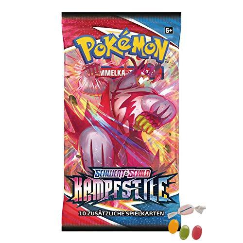 Pokemon Schwert & Schild - Kampfstile - 1 Booster - Deutsch zusätzlich 1 x Sticker-und-co Fruchtmix Bonbon