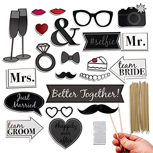 Wedding Photo Booth Prop Kit- 22 Piece Set
