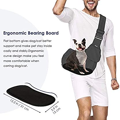 SlowTon Pet Sling Carrier, Dog Papoose Hand Free Puppy Carry Bag with Bottom Supported Adjustable Padded Shoulder Strap and Front Zipper Pocket Safety Belt for Small Pet Daily Use (Waterproof Black) 5