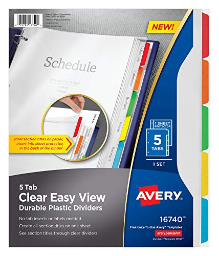 Avery clair Easy View durable Intercalaires en plastique, 5 onglets (16740)