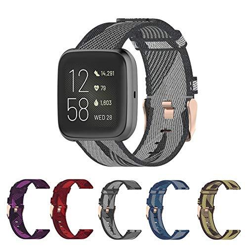 FC For la Banda de reemplazo de la Correa de Fitbit Versa 2 Banda de Nylon Correa de Reloj del Lienzo por Fitbit Blaze/Versa/Versa Lite Pulsera de muñeca (Color : Purple, Size : Fitbit Versa)