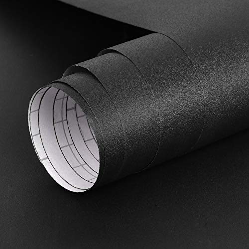 Symoden 15.7' x 78.7' Black Wallpaper Solid Black Contact Paper Matte Textured Vinyl Peel and Stick Wallpaper Self-Adhesive Black Effect Film for Rooms Walls and Old Furniture