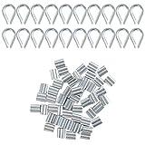 YSDMY 70 Pzs Kit de Cuerda de Acero Inoxidable con dedales de cable de acero inoxidable M2 y mangas de cuerda de alambre para cuerda de alambre de 2 mm