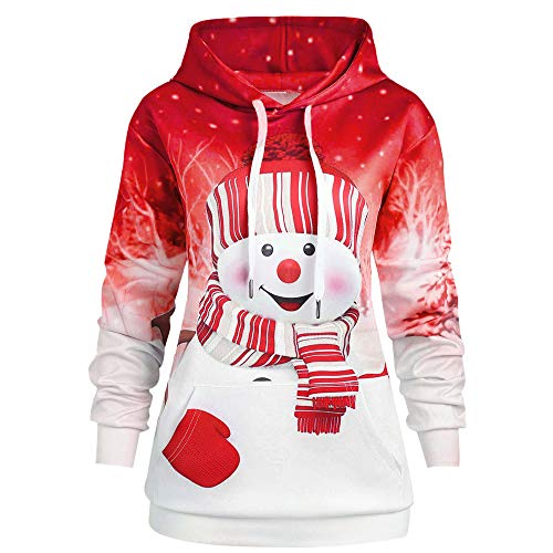 Women Hoodie Christmas Kangaroo Pocket Cartoon Snowman Print Sweatshirt Pullover