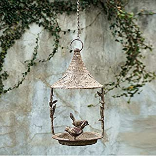CHUANG TIANG Vintage Bird Feeders Hanging,Wrought Iron Country Balcony American Metal Jewelry Villa Courtyard Hangingseed Tray