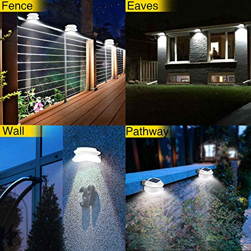 ROSHWEY Gutter Lights, 6 Pack Solar Patio Decor Lights with 9 LED Waterproof Fence Lights for Eaves Garden Landscape Pathway (Cool White)