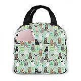 Bolsa de almuerzo portátil para gato, conejo, primavera, diseño de gato, duradero, aislante, con bolsillos para trabajo, escuela, viajes, picnic
