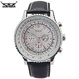 JARAGAR - Relojes mecánicos de lujo para hombre, 6 manecillas automáticas de piel genuino, color negro, reloj de pulsera para hombre, Reloj mecánico 2