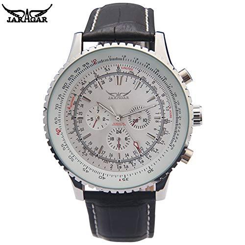 Jaragar, orologio meccanico da uomo, automatico, con 6 lancette, cinturino in vera pelle, nero, con data automatica